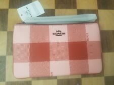 New COACH Buffalo Plaid Gingham Large Canvas Wristlet #F26620,  Pink Red NWT