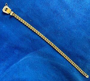 Vintage 14K Yellow GOLD DIAMOND BELT BRACELET BUCKLE Double Rope