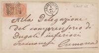 ITALIA REGNO coppia 10 c. DLR su lettera 1868 +pregiato annullo Casalsigone