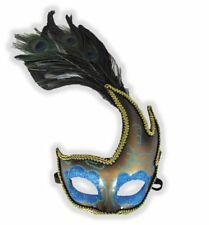 Peacock Eyes Wing Mask Aqua Blue Glitter Feathers Halloween Costume Accessory