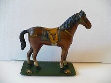Vintage Antique Tin Litho Horse Toy on Wheels Exceptional Condition