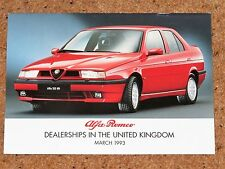 ALFA ROMEO Guide to Dealerships in the UK March 1993