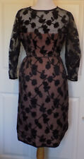 Vintage 50's Black Leaf Illusion Party Cocktail Dress B36 As Is