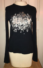 Juicy Couture Women's Long Sleeve Black Medium Top Shirt Silver