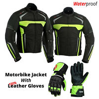 Mens Motorcycle Textile Jacket Coat Armored with 100% Leather Motorbike Gloves
