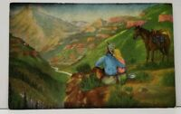 Dude Larsen THE Cowboy Artists DREAMING Couple Up in The Valley Postcard H8