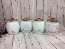 Kilner Jars X4 Tea Coffee & Sugar, Canisters Set White Grey Black Copper, Marble