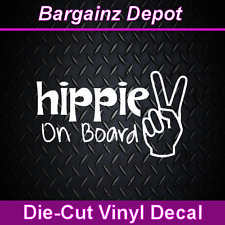 Vinyl Decal...  HIPPIE ON BOARD ... Peace Sign Car Laptop Decal Sticker