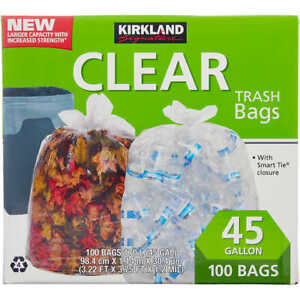 Kirkland Signature Trash Bags, Clear, 45 Gallon, 100 ct