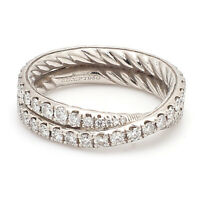 David Yurman Crossover Platinum Diamond Wedding Band 5.2mm - Sz. 5¾