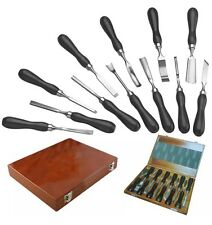 12PC PRO WOOD CHISEL CARVING TURNING WOODCARVING LONG CARPENTERS TOOL SET HANDLE