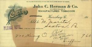 1919 Harrisburg Pennsylvania (PA) Receipt John C. Herman & Co.