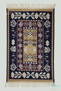 """Turkish Oriental Rug Kilim 60x90cm cm / 2'x2'11"""" Burgundy/ Navy/ Biege/ Brown"""