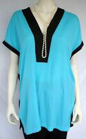 Bisou Bisou V-Neck Short Sleeve Women's Size M Blouse Teal/Black Top, NWT $40