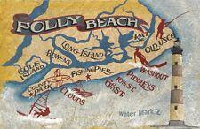Folly Beach  SC coastal retro map Print art  Beach  lighthouse south carolina