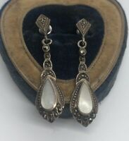 Vintage Sterling Silver Earrings 925 Deco Shell Marcasite Dangle