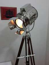 Chrome Designer Nautical Hollywood Spotlight Tripod Floor Lamp Industrial Light