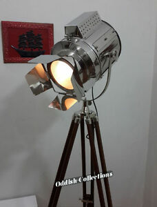 Chrome Designer Nautical Hollywood Spotlight Tripod Floor Lamp Industrial Light