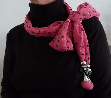ATTRACTIVE PINK PRINTED CHIFFON JEWELLED SCARF IN PRESENTATION BOX  53036