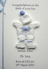 Personalised Birth Congratulations Card: Boy or Girl Hand Knitted Baby Suit