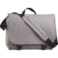 BagBase Two Tone Messenger Shoulder Strap Bag Briefcase College Uni Business New