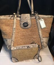 Coach Natural Straw Hampton Python Snakeskin Trim 19359 Tote+Wristlet Wallet SET