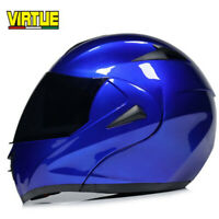 DOT Blue Modular Helmet Flip Up Motocross Motorcycle Helmet Full Face Dual Visor