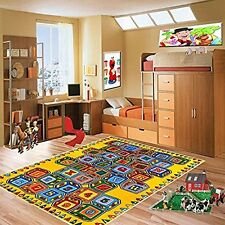 ABC Blocks Kids Area Rug 5' x 7' Children Crayons Carpet Non Skid Gel Backing