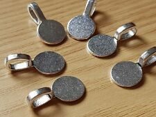 10 Silver Plated glue on Round Disk Pad Bails Jewellery Hanger pendant 18x10mm