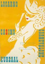 Original Vintage Poster Swiss Locarno Casino Carnival Travel Masquerade 1955