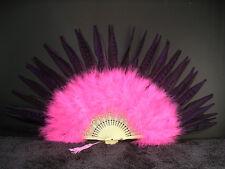 MARABOU FEATHER FAN - SHOCKING PINK w/ PURPLE Pheasant; Dance/Costume/Burlesque