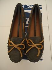 LUCKY BRAND MOCCASIN COW SPLIT SUEDE LP-ABELLE2 FLATS STORM, LEATHER SIZE 6M NWB