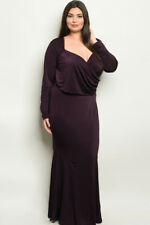 Womens Plus Size 2 Pc Purple Top and Skirt Set Size 2 2XL Plum Formal Stretch