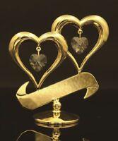 SWAROVSKI HEART SHAPED CRYSTAL STUDDED DOUBLE LOVE HEART 24K GOLD PLATED