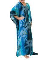 Plus Size Long Blue- Green Tie Dye Maxi Kaftan -Dress Size 20-22-24-26