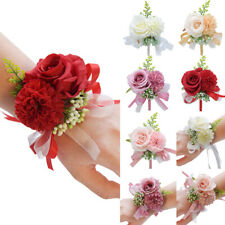 5Pcs Wedding Wrist Flower Rose Handmade Silk Ribbon Bride Corsage Hand Flower