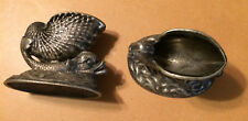 "Set of Matching Pewter Dragon 2-1/2"" x 3"" Fish wi 1-1/4"" Open Shell on Backs"