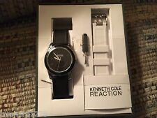 Kenneth Cole Reaction Watch: Black/White Plastic Band, Black Dial PRICE DROP
