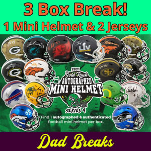 BUFFALO BILLS Signed Gold Rush Mini Helmet + 2 Autographed Jerseys: 3 BOX BREAK