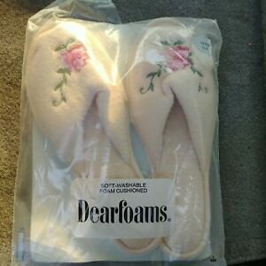 Vtg. Dearfoams Embroidered Terrycloth Slip On Slippers Size 8-9 NOS