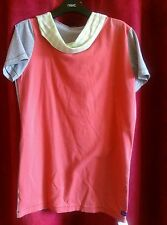 Emily Sharp Mens Hooded T-shirt, salmon pink, grey and stripe. S, M or L