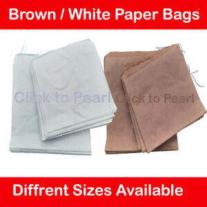 White / Brown Kraft Strong Paper Food Bags, Sandwiches Groceries Candy etc
