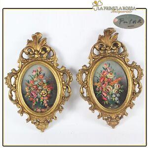 Antico quadretto coppia di quadri oro vintage miniature dipinto firmato in legno