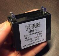 Betriebskondensator 50/60Hz 16uF/µF CBB61 450 VAC, mit 4 Steckanschlüssen