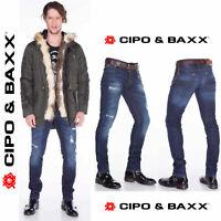 CIPO & BAXX Herren Jeans CD392 NEU Hose Slim Fit Enges Bein Denim Stretch