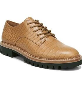 $375 - Vince Camilla Tan Croc Embossed Leather Derby Oxfords Size 10