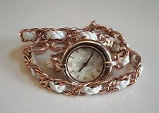 White/Rose Gold Lady  Wrap Around Double Strap Bracelet Long Band Quartz Watch