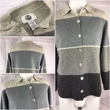 Natural Instincts Cardigan Sweater Small Gray Wool Angora Nylon Button YGI 81uu