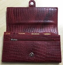 Pure Croc Leather Brown Ladies Travel Organiser Passport Ticket Currency Holder