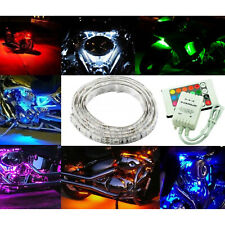 6Ft 12V Motorcycle RGB LED Under Glow Frame Engine Motor Light Strip Controller
